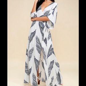 Lulu's Sign of The Times Leaf Print Maxi Dress